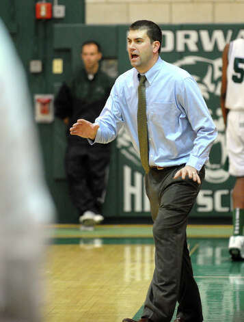 Norwalk Head Coach Thomas Keyes, during boys basketball action against Staples in Norwalk, Conn. on Tuesday December 18, 2012. Photo: Christian Abraham / Connecticut Post