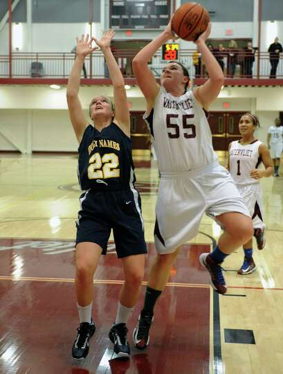 Watervliet's Mikayla Deguire drives to the basket during their girl's high school basketball game ag