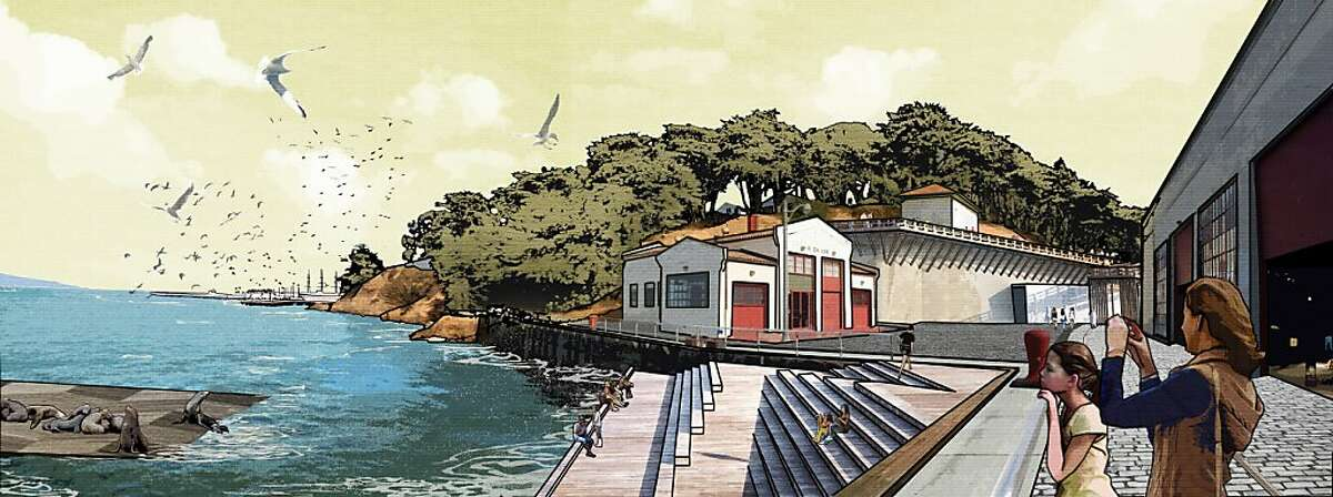 The design competition to improve San Francisco's Fort Mason Center was won by a team led by the landscape architecture firm West 8. The winning scheme emphasizes better connection of the center to its surroundings, including ramps down from adjacent Fort Mason, a footbridge to Marina Green and stepped platforms leading into the bay.