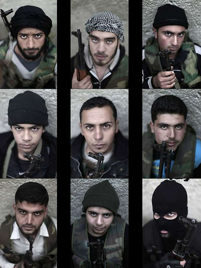 In this combination of photos made of nine photos taken on Monday, Dec. 17, 2012, Syrian rebel fighters pose for a picture, following a training session in Maarret Ikhwan, near Idlib, Syria. Photo: Muhammed Muheisen, Associated Press