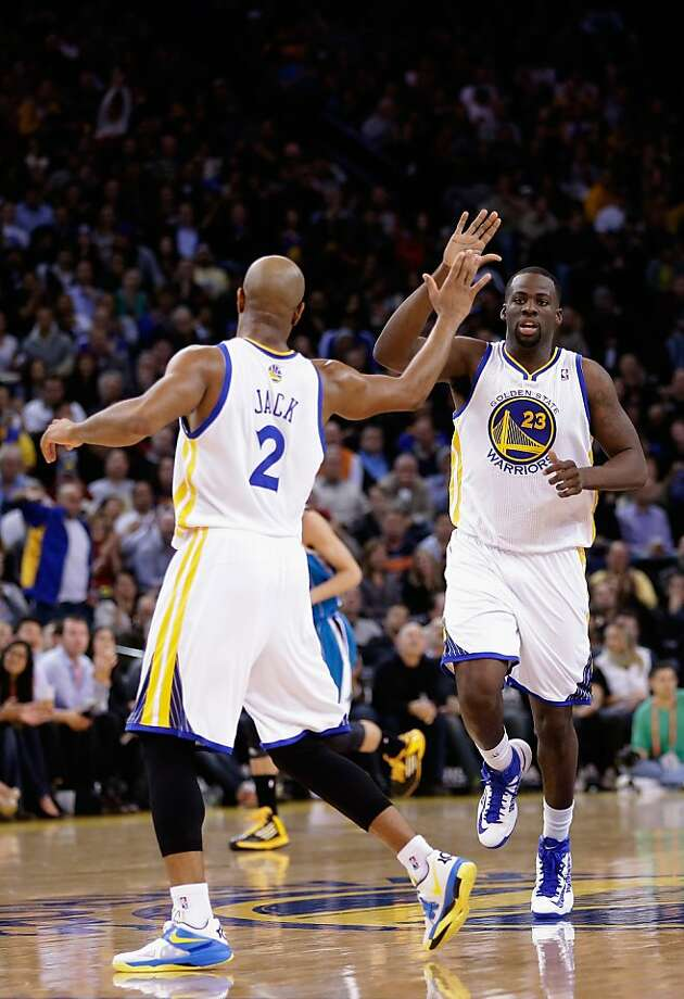 OAKLAND, CA - DECEMBER 18: Draymond Green #23 is congratulated by Jarrett Jack #2 of the Golden State Warriors after he made a basket against the New Orleans Hornets at Oracle Arena on December 18, 2012 in Oakland, California. NOTE TO USER: User expressly acknowledges and agrees that, by downloading and or using this photograph, User is consenting to the terms and conditions of the Getty Images License Agreement.  (Photo by Ezra Shaw/Getty Images) Photo: Ezra Shaw, Getty Images
