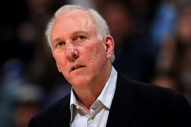 Head coach Gregg Popovich of the San Antonio Spurs leads his team against the Denver Nuggets at the Pepsi Center on December 18, 2012 in Denver, Colorado. (Doug Pensinger / Getty Images)