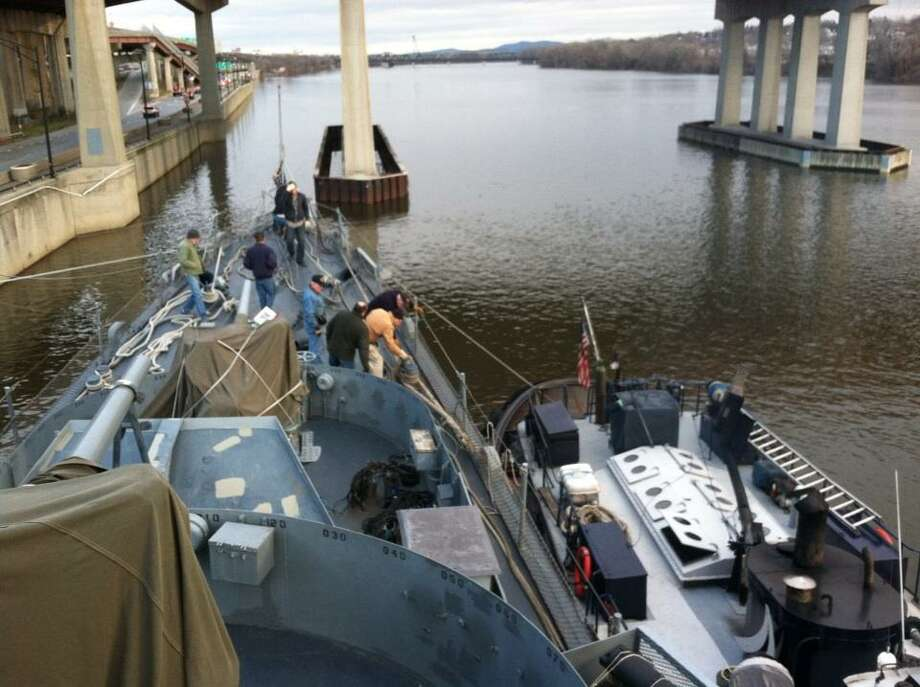 Preparations continue for the move of the USS Slater to its winter berth. (Skip Dickstein/Times Union)