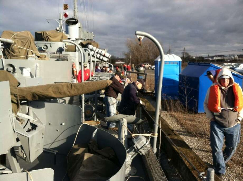 The USS Slater reaches its winter berth in the Port of Rensselaer on Wednesday, Dec. 19, 2012. (Skip Dickstein/Times Union)