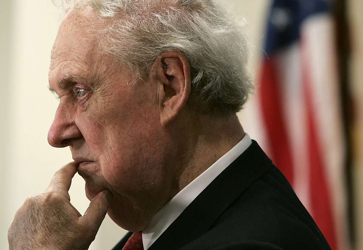 FILE - DECEMBER 19, 2012: It was reported that Robert Bork, a former solicitor general and Supreme Court nominee, which failed in 1987, died due to heart complications at 85 on December 19, 2012. WASHINGTON - SEPTEMBER 01: Former Supreme Court nominee Robert Bork listens during a panel discussion about the U.S. Senate's role on judicial nomination process September 1, 2005 in Washington, DC. Bork was nominated by President Ronald Reagan to the position of Associate Justice of the Supreme Court in 1987, but his confirmation was denied by the Senate. (Photo by Alex Wong/Getty Images)
