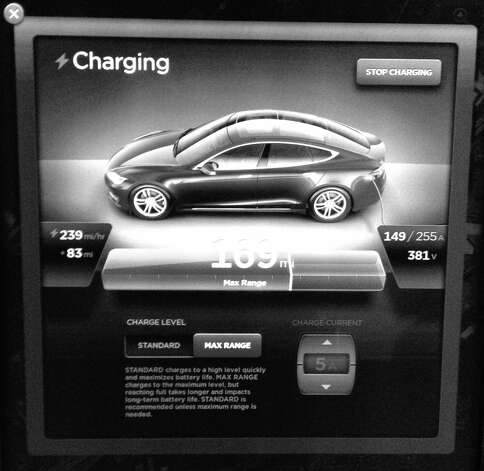 The charging display on a portion of the Tesla Model S all-electric sedan's monstrous 17-inch diagonal touch screen display. Photo: Contributed Photo