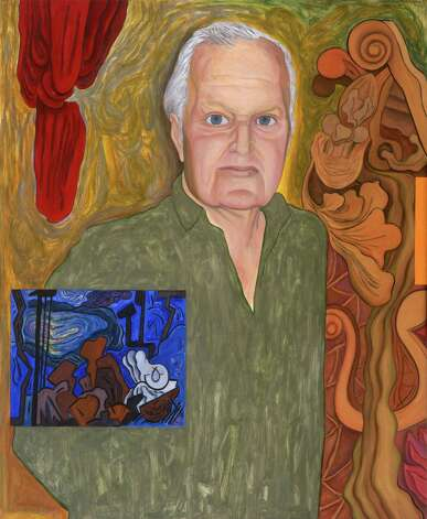 "Portrait of John Ashbery Stephanie Rose 1997 Oil and acrylic on canvas, ht. 64 5/8"" x w. 53 1/2"" Albany Institute of History & Art, gift of Albert B. Roberts, 2010.33"