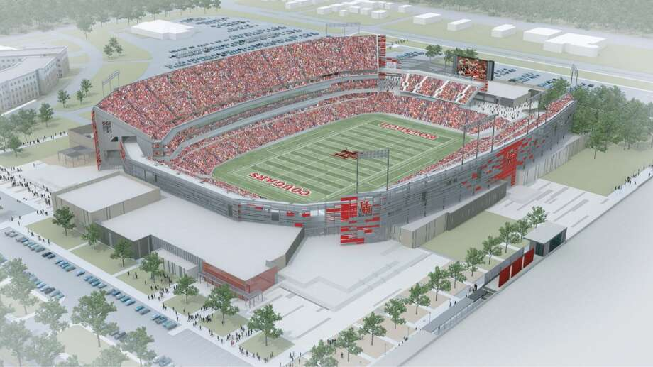 Aerial view of the northeast side of the University of Houston's new on-campus stadium, which will be completed in time for the 2014 season.