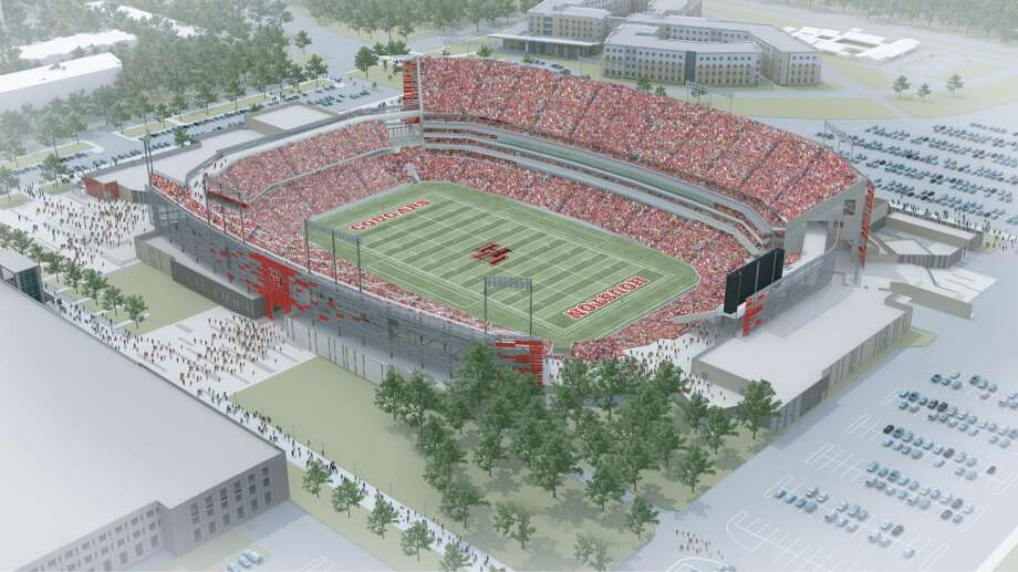 Aerial view of the northwest side of the University of Houston's new on-campus stadium, which will be completed in time for the 2014 season.
