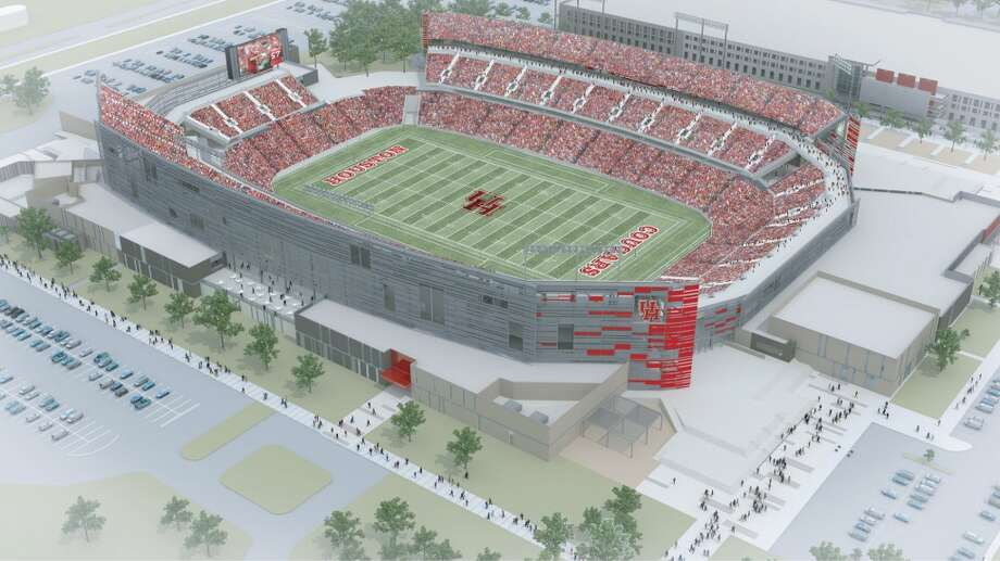 Aerial view of the southeast side of the University of Houston's new on-campus stadium, which will be completed in time for the 2014 season.