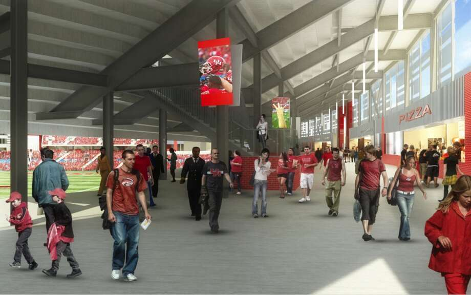View of the north concourse of the University of Houston's new on-campus stadium, which will be completed in time for the 2014 season.
