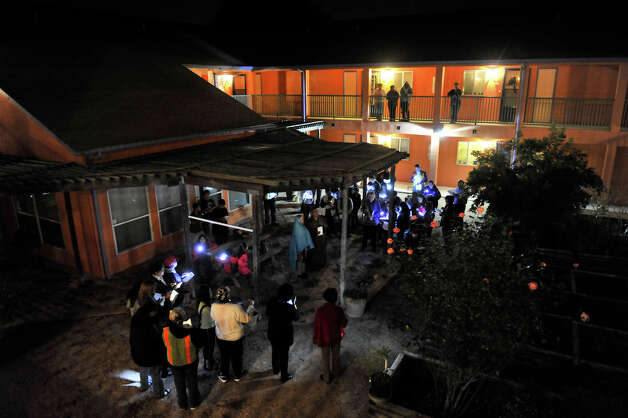 The Our Lady of Guadalupe Church yearly Posada made a stop in the courtyard of the San Jacinto Senior Housing Development. Photo: Robin Jerstad/For The Express-Ne