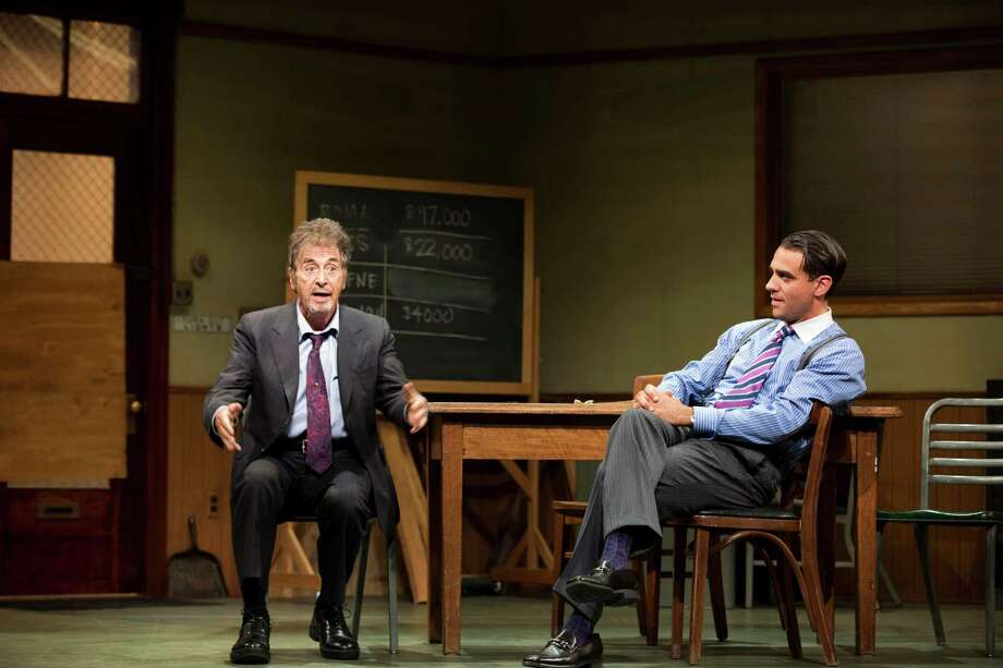 "FILE - This undated publicity file photo provided by Jeffrey Richards Associates shows Al Pacino, left, and Bobby Cannavale, in a scene from ""Glengarry Glen Ross"" at the Gerald Schoenfeld Theatre in New York. Producers said Wednesday, Dec. 19, 2012 said that the  The Al Pacino-led revival that marks the 30th anniversary of David Mamet's Pulitzer Prize-winning play about the backbiting world of salesmen has recouped its $3.3 million investment.(AP Photo/Jeffrey Richards Associates, File) Photo: Scott Landis"