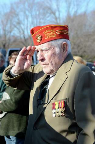 VFW Gene Coyle during the National Anthem at the Wreaths Across America ceremony in Darien, Conn. on  Dec. 15, 2012. Photo: Jeanna Petersen Shepard