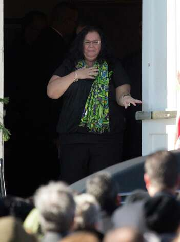 Mike Ross Connecticut Post freelance -An emotional Donna Soto mother of Victoria Soto, the first-grade teacher at Sandy Hook Elementary School who was shot and killed while protecting her students, makes her way out the entrance of the funeral mass at Lordship Community Church on December 19, 2012 in Stratford, Connecticut. Photo: Mike Ross / @www.mikerossphoto.com