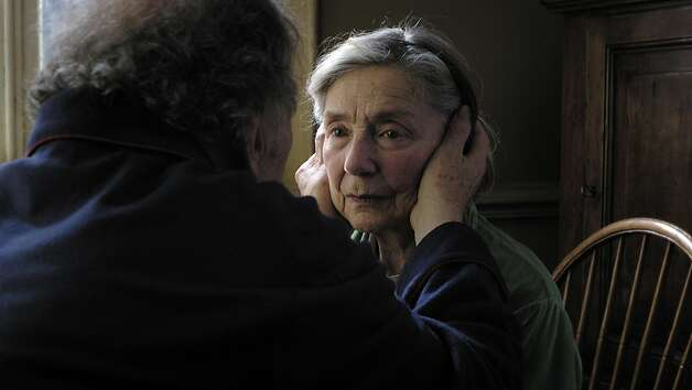 "Jean-Louis Trintignant, left, and Emmanuelle Riva play an elderly couple in ""Amour,"" a harrowing look at old age. Photo: Sony Pictures Classics"