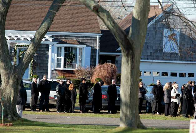 Mike Ross Connecticut Post freelance - A line of family and friends wait to enter Lordship Community Church for the funeral mass for teacher Victoria Soto, 27, leaves  on Dec. 19, in Stratford, Conn. Photo: Mike Ross / @www.mikerossphoto.com