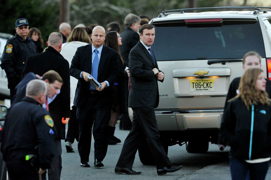 Sen.-elect Chris Murphy arrives to the funeral of Sandy Hook principal Dawn Lafferty Hochsprung at t