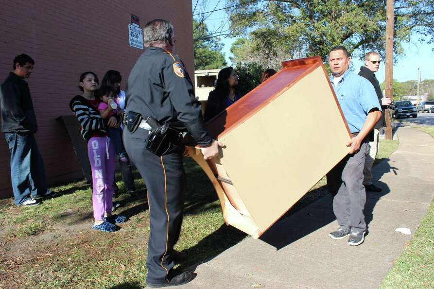 Gallery Furniture and the Harris County Sheriff's Department joined together to surprise Patricia Me