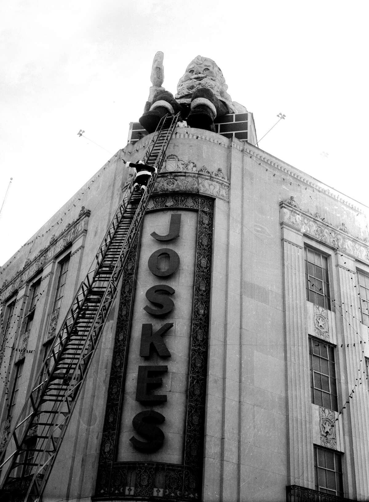 """""""When I was a child (a long time ago), my parents would drive me and all five of my siblings downtown to see the Joske's Santa on top on the building and all the windows with Christmas scenes! We all loved it!"""" - Ginny Kalisky"""
