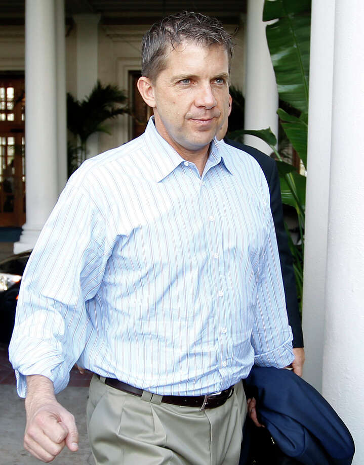FILE - In this March 27, 2012 file photo, New Orleans Saints coach Sean Payton leaves the NFL owners meeting in Palm Beach, Fla. A person familiar with the decision says that Saints coach Sean Payton will file an appeal of his season-long suspension with the NFL on Friday, March 30, 2012. (AP Photo/Luis M. Alvarez, File) Photo: Luis M. Alvarez, FRE / AP2012