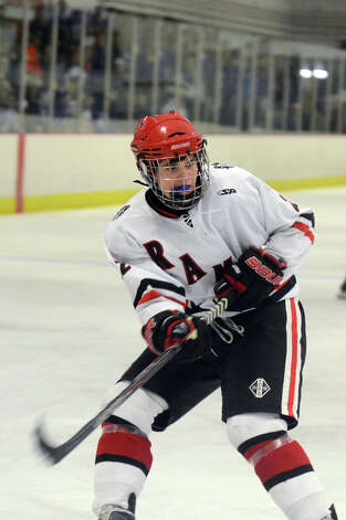 New Canaan's Patrick Hompe (22) on the ice during the boys ice hockey game against Darien at the Darien Ice Rink on Wednesday, Dec. 19, 2012. Photo: Amy Mortensen / Connecticut Post Freelance