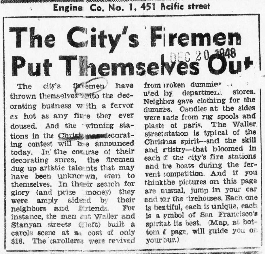 A San Francisco Chronicle article about the fire department decorations, from the first year of the big contest. Low-key firehouse decorations had been a tradition going back to the 1920s. They were suspended during World War II, then came back with a vengeance. (Chronicle archives)