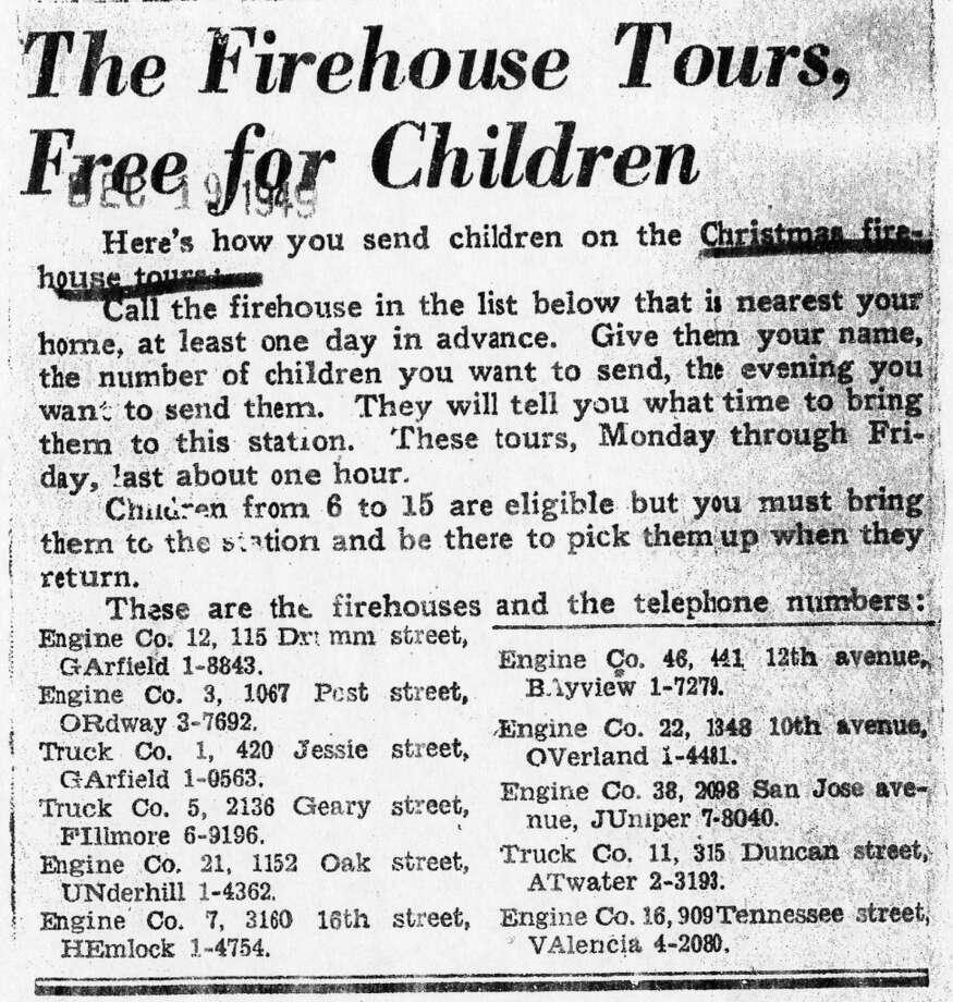 People could jettison their kids at the fire station, and have a night on the town while the firefighters conducted bus tours. Just to prove this is 1949, note the phone numbers. HEmlock 1-4574 would be the coolest letter/number combo, in my opinion. (The Chronicle)