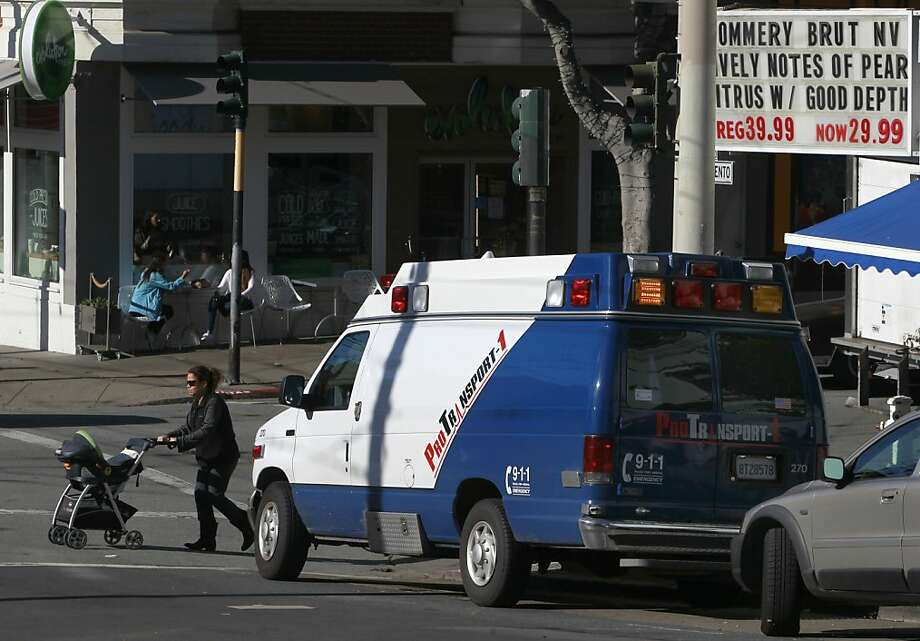 A private ambulance is parked in a space reserved for active loading or unloading at Sacramento and Fillmore streets. Photo: Paul Chinn, The Chronicle