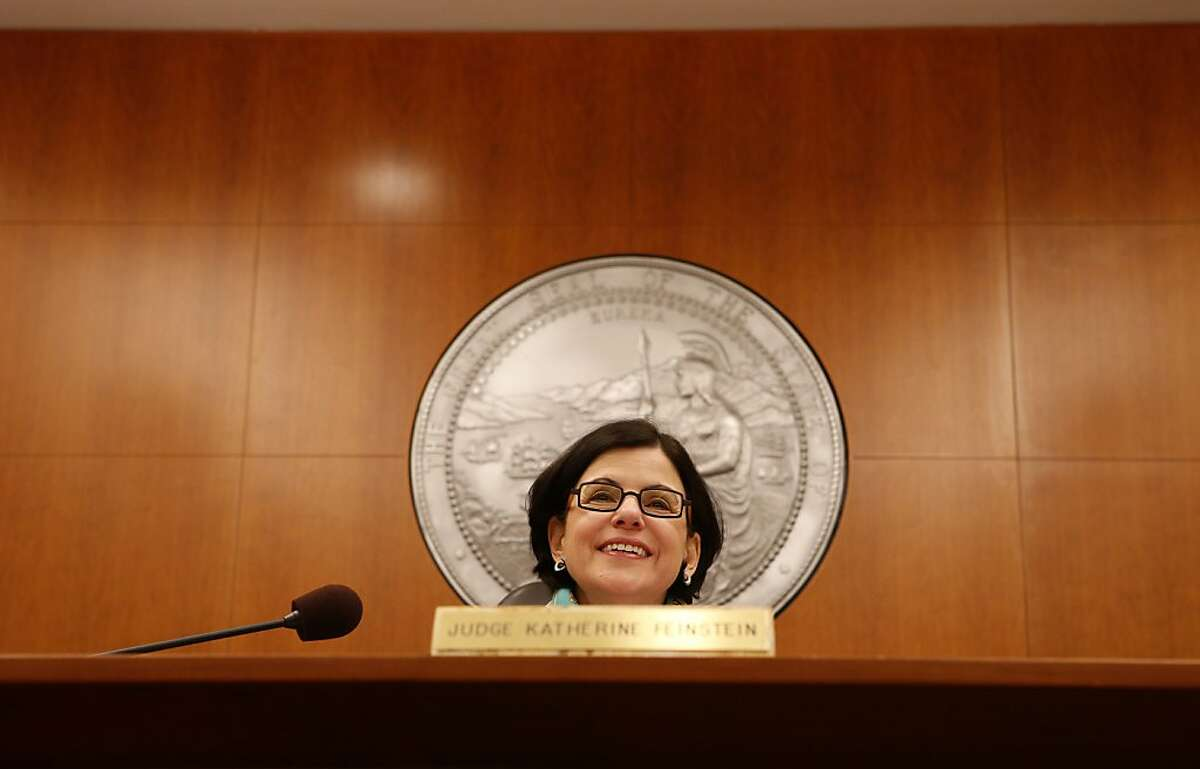 Katherine Feinstein, the presiding judge of San Francisco Superior Court, greets litigants in her courtroom on Wednesday, December 19, 2012 in San Francisco, Calif.