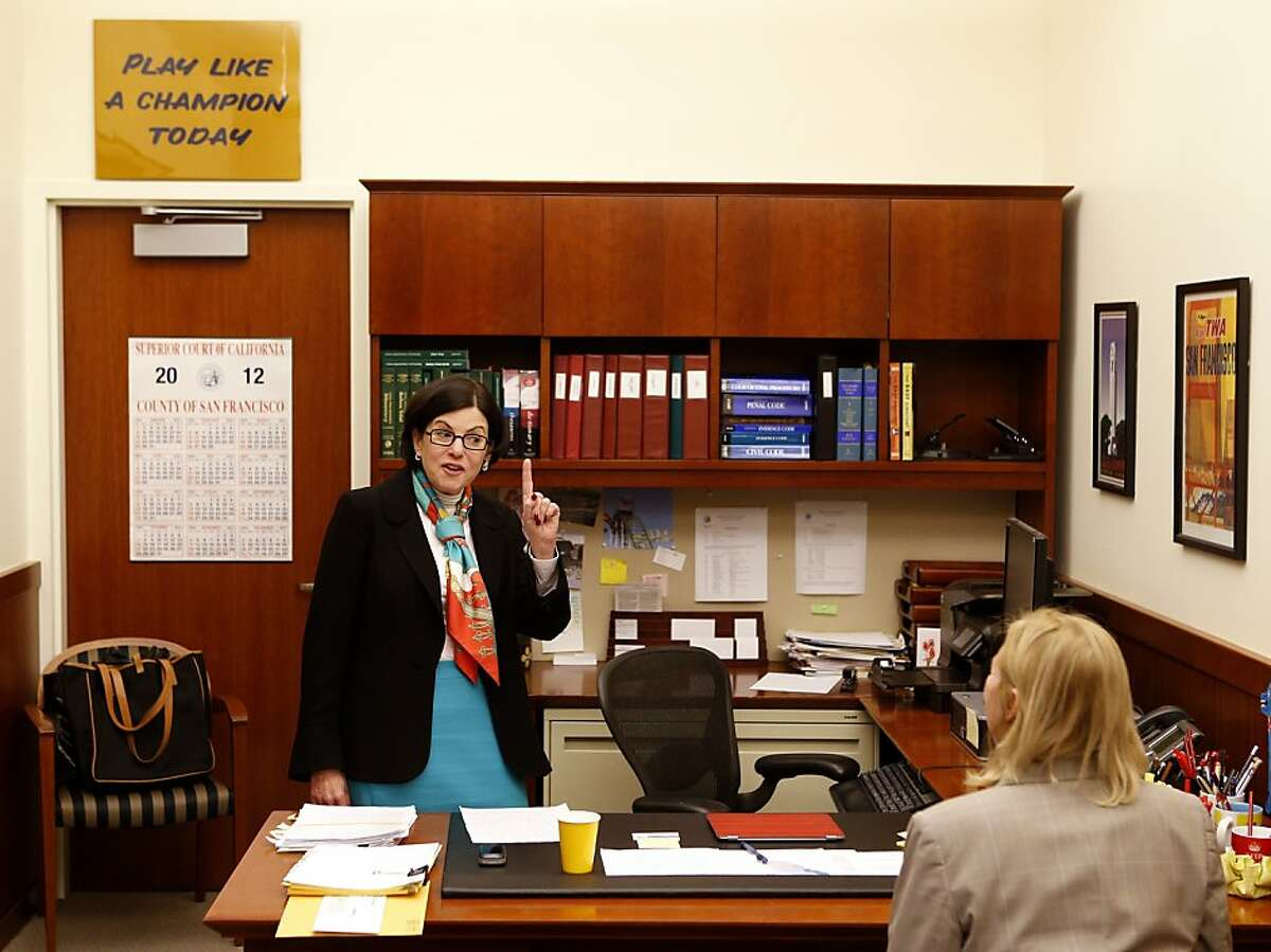 Katherine Feinstein (left), the presiding judge of San Francisco Superior Court, and Ann Donlan, the communications director, work in Feinstein's office on Wednesday, December 19, 2012 in San Francisco, Calif.