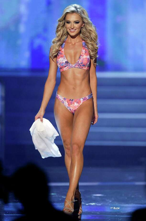 Melinda Bam, Miss South Africa, competes in the swimsuit portion. Photo: AP