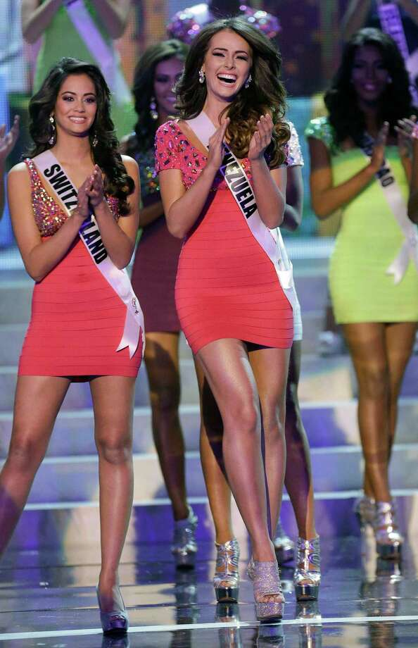 Venezuela's Irene Sofia Esser Quintero reacts as she is named one of the final 16 contestants. Photo: AP