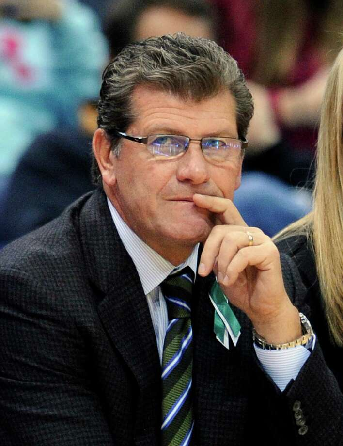 Connecticut coach Geno Auriemma watches during the second half of his team's 97-25 victory over Oakland in an NCAA college basketball game in Hartford, Conn., Wednesday, Dec. 19, 2012. (AP Photo/Fred Beckham) Photo: Fred Beckham, Associated Press / FR153656 AP