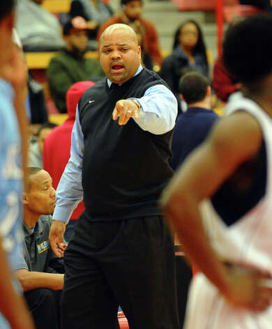 Kolbe Cathedral Head Coach Chris Smith, during boys basketball action at Sacred Heart University in Fairfield, Conn. on Wednesday December 19, 2012. Photo: Christian Abraham / Connecticut Post