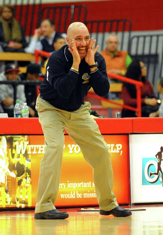 Notre Dame of Fairfield Head Coach Vin Laczkoski, during boys basketball action at Sacred Heart University in Fairfield, Conn. on Wednesday December 19, 2012. Photo: Christian Abraham / Connecticut Post