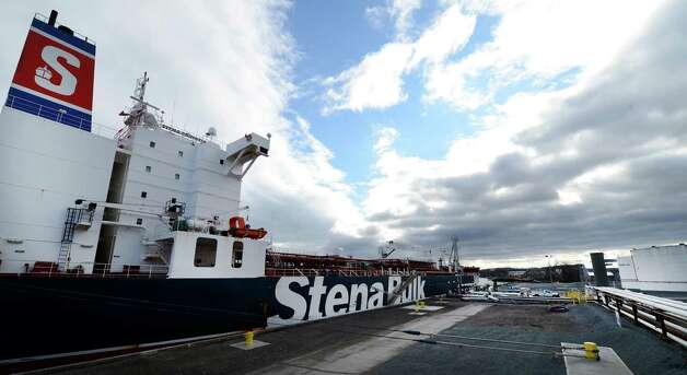 The Stena Primorsk takes on North Dakota crude from the Buckeye Partners' tanks in the Port of Albany, N.Y. Dec 19, 2012.     (Skip Dickstein/Times Union) Photo: Skip Dickstein / 00020517A