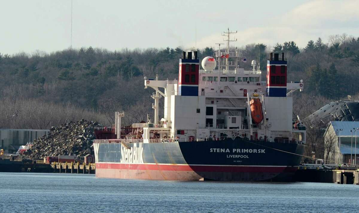 The Stena Primorsk takes on North Dakota crude from the Buckeye Partners' tanks in the Port of Albany, N.Y. Dec 19, 2012. (Skip Dickstein/Times Union)