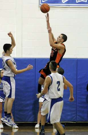 Schuylerville's Shane Lyon takes a shot during their boy's basketball game against Hoosic Valley in Schaigticoke, NY Wednesday Dec. 19, 2012. (Michael P. Farrell/Times Union) Photo: Michael P. Farrell