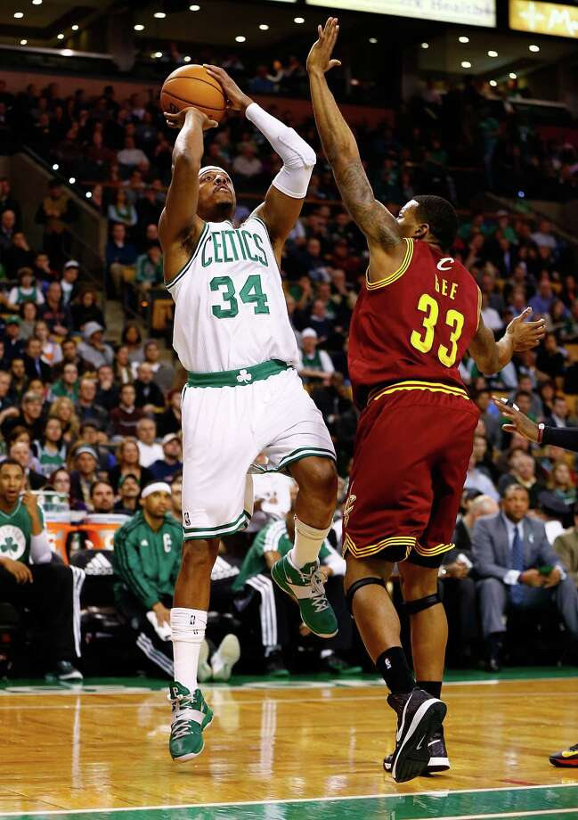 BOSTON, MA - DECEMBER 19:  Paul Pierce #34 of the Boston Celtics takes a shot over Alonzo Gee #33 of the Cleveland Cavaliers during the game on December 19, 2012 at TD Garden in Boston, Massachusetts. NOTE TO USER: User expressly acknowledges and agrees that, by downloading and or using this photograph, User is consenting to the terms and conditions of the Getty Images License Agreement. (Photo by Jared Wickerham/Getty Images) Photo: Jared Wickerham