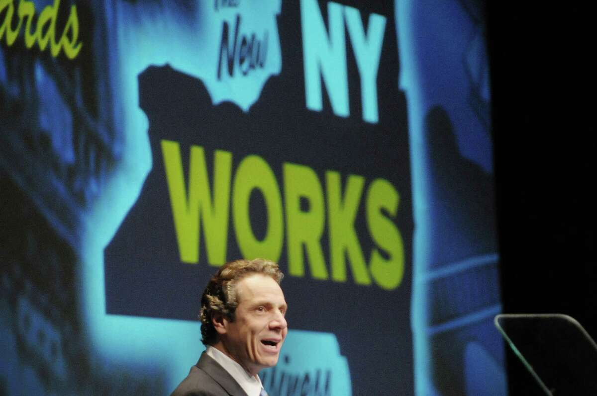 Governor Andrew Cuomo addresses those gathered for the New York State Regional Economic Development Awards at the Hart Theatre at the Egg on Wednesday, Dec. 19, 2012 in Albany, NY. (Paul Buckowski / Times Union)