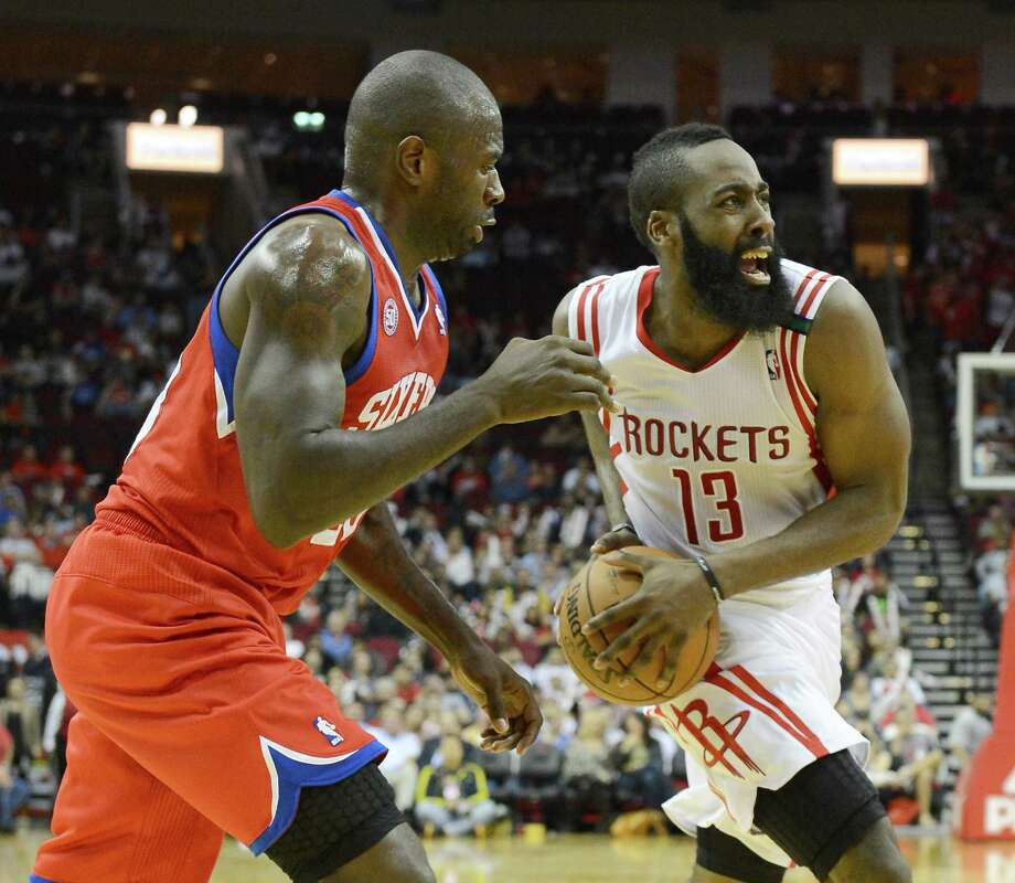 Beaten on a drive by James Harden, right, the 76ers' Jason Richardson fouls the Rockets guard. That wasn't a smart move, as Harden made 17 of 18 free throws while scoring 33 points Wednesday night. Photo: George Bridges / MCT