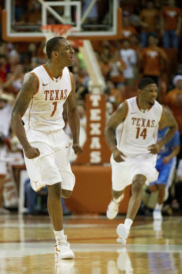Sheldon McClellan #1 of the University of Texas Longhorns celebrates after a dunk against the University of North Carolina Tar Heels on December 19, 2012 at the Frank Erwin Center in Austin. Photo: Cooper Neill, Getty Images / 2012 Getty Images