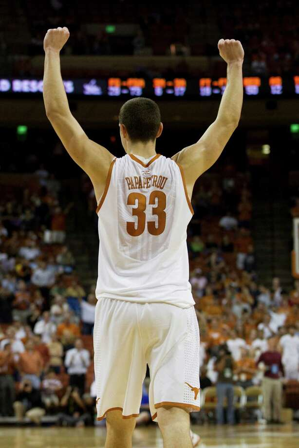 Ioannis Papapetrou #33 of the University of Texas Longhorns celebrates a victory over the University of North Carolina Tar Heels on December 19, 2012 at the Frank Erwin Center in Austin. Photo: Cooper Neill, Getty Images / 2012 Getty Images