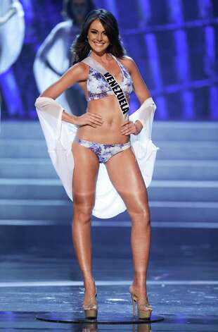 Miss Venezuela, Irene Sofia Esser Quintero, takes center stage as she is named as one of the 10 finalists. Photo: AP
