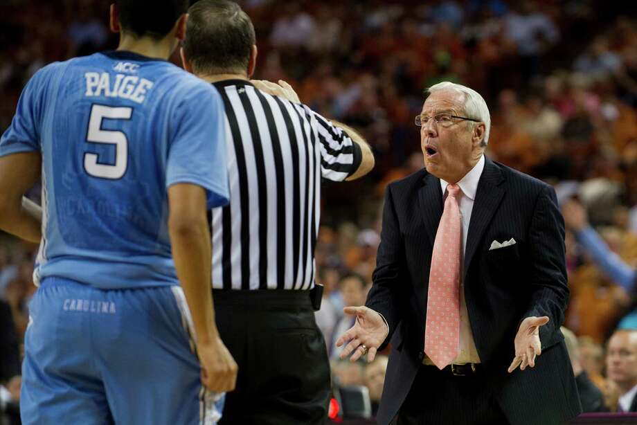 Head coach Roy Williams of the University of North Carolina Tar Heels has words with an official against the University of Texas Longhorns on December 19, 2012 at the Frank Erwin Center in Austin. Photo: Cooper Neill, Getty Images / 2012 Getty Images