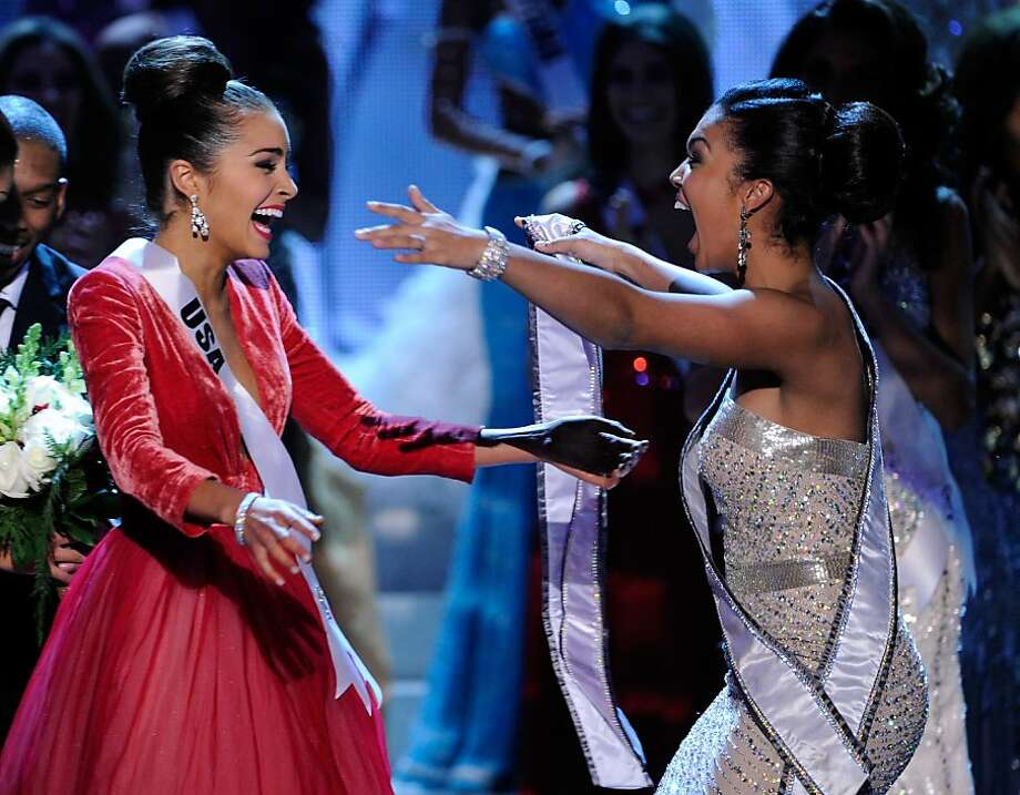 LAS VEGAS, NV - DECEMBER 19:  Miss USA 2012, Olivia Culpo (L), reacts after being named the 2012 Miss Universe as Leila Lopes, Miss Universe 2011, embraces her during the 2012 Miss Universe Pageant at PH Live at Planet Hollywood Resort & Casino on December 19, 2012 in Las Vegas, Nevada.  (Photo by David Becker/Getty Images) Photo: David Becker, Getty Images