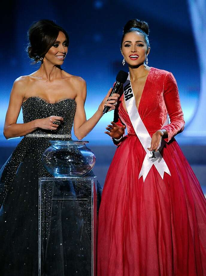 LAS VEGAS, NV - DECEMBER 19:  Television personality and pageant co-host Giuliana Rancic (L) looks on as Miss USA 2012, Olivia Culpo, answers a question during the interview portion of the 2012 Miss Universe Pageant at PH Live at Planet Hollywood Resort & Casino on December 19, 2012 in Las Vegas, Nevada. Culpo went on to be crowned the new Miss Universe.  (Photo by David Becker/Getty Images) Photo: David Becker, Getty Images