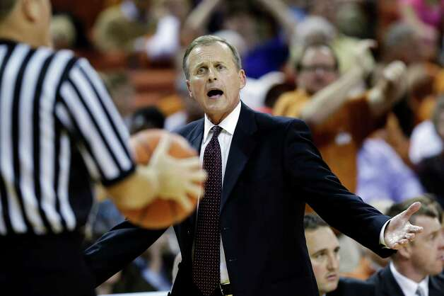 Texas head coach Rick Barnes questions a call during the second half of an NCAA college basketball game against North Carolina, Wednesday, Dec. 19, 2012, in Austin, Texas. Texas won 85-67. (AP Photo/Eric Gay) Photo: Eric Gay, Associated Press / AP