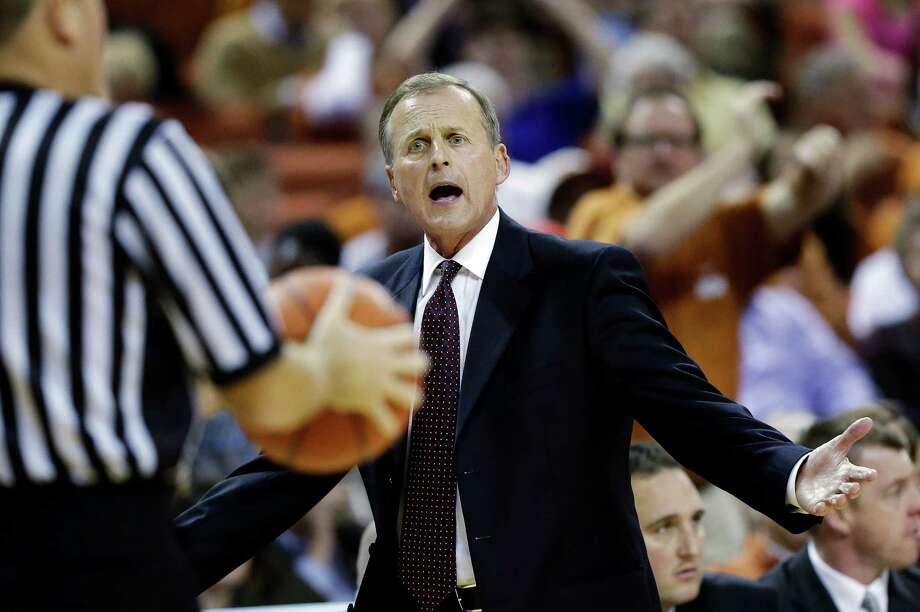 Texas head coach Rick Barnes questions a call during the second half of an NCAA college basketball game against North Carolina, Wednesday, Dec. 19, 2012, in Austin, Texas. Texas won 85-67. (AP Photo/Eric Gay) Photo: Eric Gay, Associated Press / AP